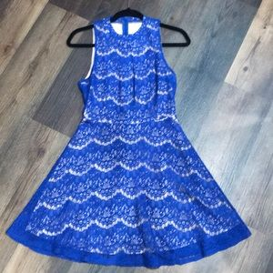 Size M - royal blue lace skater dress